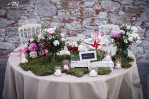 tavola apparecchiata con decorazioni