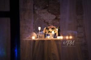 tavolo degli sposi illuminato